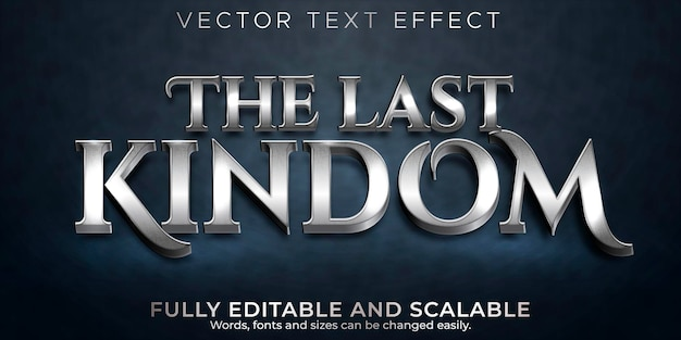 Edytowalny efekt tekstowy, metaliczny styl tekstu królestwa