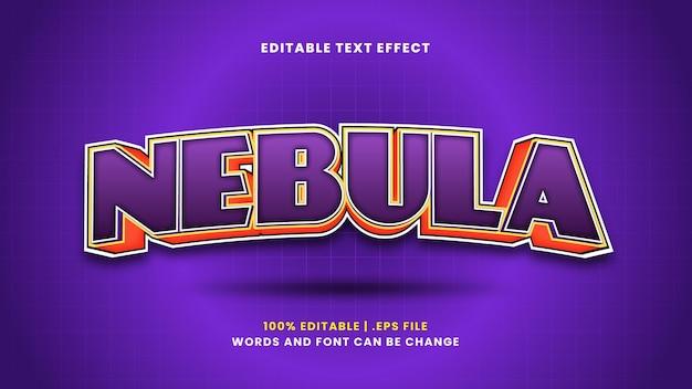 Edytowalny efekt tekstowy mgławicy w nowoczesnym stylu 3d