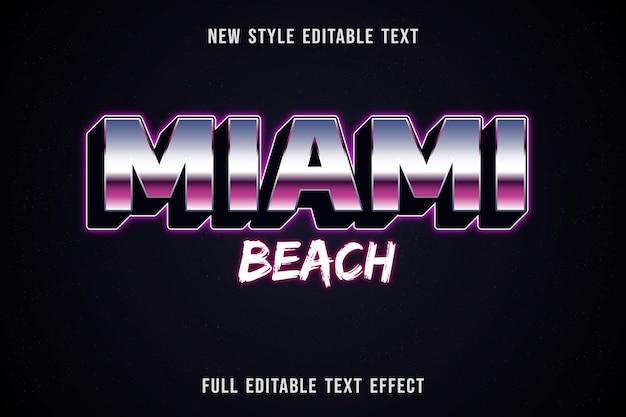 Edytowalny efekt tekstowy miami beach kolor niebieski biały i fioletowy