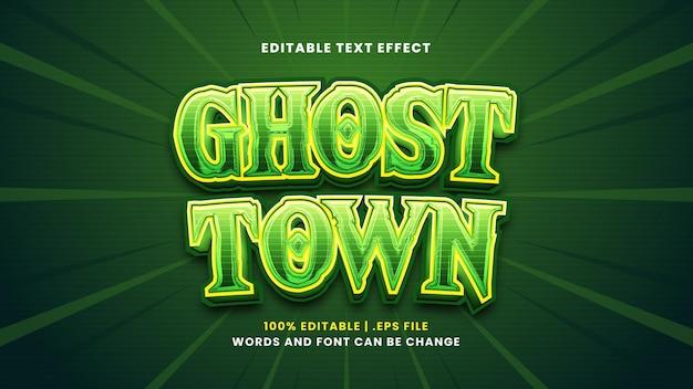 Edytowalny efekt tekstowy miasta duchów w nowoczesnym stylu 3d