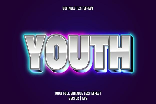Edytowalny efekt tekstowy młodzieżowy 3-wymiarowy tłoczony styl neonowy