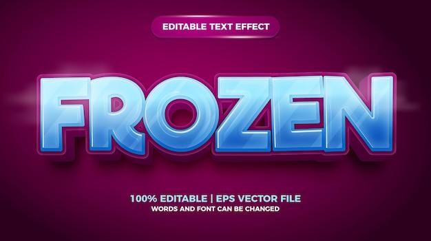 Edytowalny efekt tekstowy - mrożony szablon 3d w stylu kreskówki