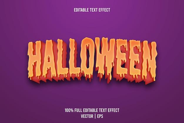 Edytowalny efekt tekstowy na halloween w stylu 3d tłoczenie w stylu kreskówki
