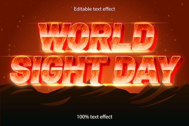 Edytowalny efekt tekstowy na światowy dzień w stylu retro w nowoczesnym stylu