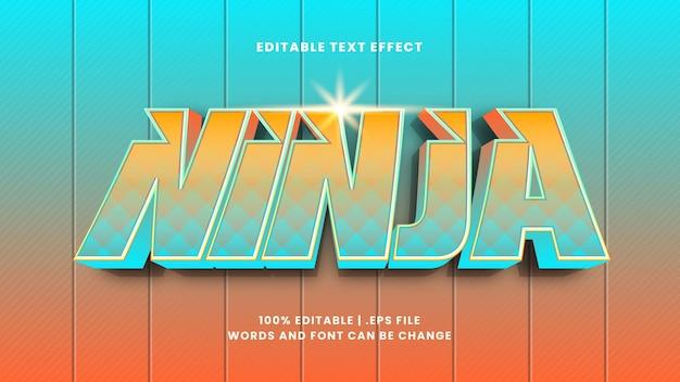 Edytowalny efekt tekstowy ninja w nowoczesnym stylu 3d