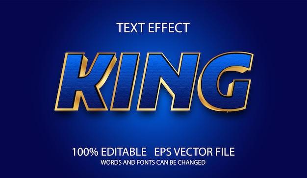 Edytowalny efekt tekstowy nowoczesny król niebieski szablon