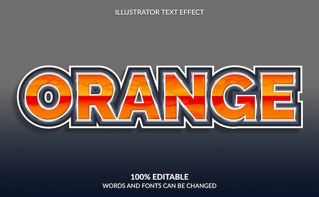 Edytowalny efekt tekstowy, nowoczesny pomarańczowy styl tekstu do gier wideo i e-sportu