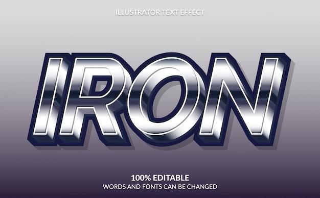 Edytowalny efekt tekstowy, nowoczesny styl mocnego pogrubionego żelaza