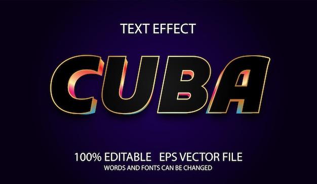 Edytowalny efekt tekstowy nowoczesny szablon kuba