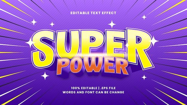 Edytowalny efekt tekstowy o super mocy ze stylem tekstu kreskówki
