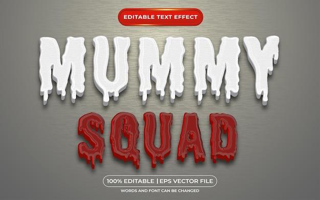 Edytowalny efekt tekstowy oddziału mumii w stylu krwi i zombie