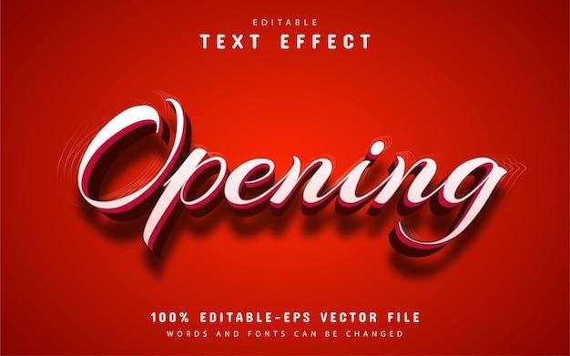 Edytowalny efekt tekstowy otwarcia