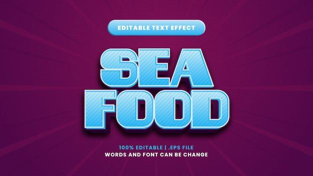 Edytowalny efekt tekstowy owoców morza w nowoczesnym stylu 3d