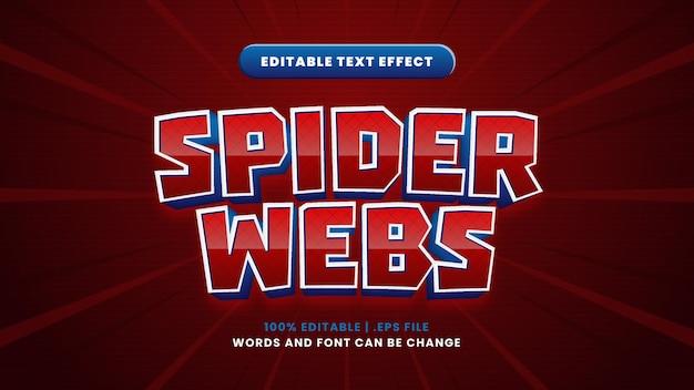 Edytowalny efekt tekstowy pajęczyny w nowoczesnym stylu 3d
