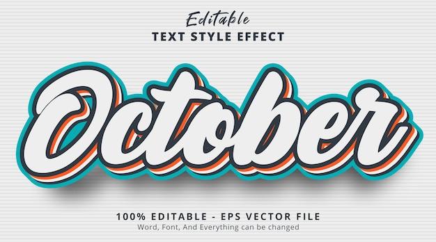 Edytowalny efekt tekstowy, październikowy tekst z wielowarstwowym efektem stylu kombinacji kolorów