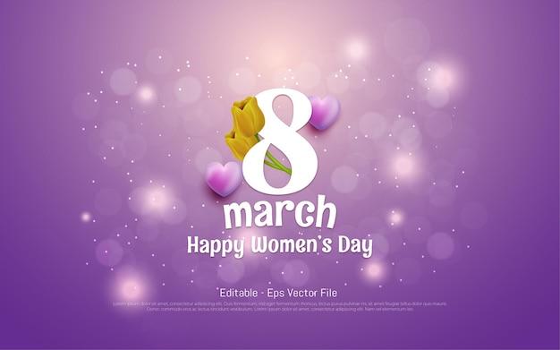 Edytowalny efekt tekstowy, piękny dzień kobiet 8 marca