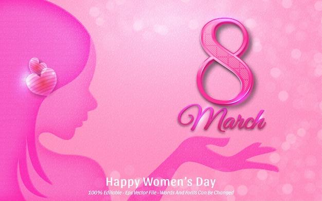 Edytowalny efekt tekstowy, piękny dzień womans marca z ilustracjami w stylu sylwetki kobiety