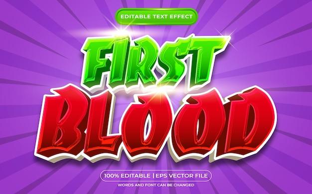 Edytowalny efekt tekstowy pierwszego stylu szablonu krwi