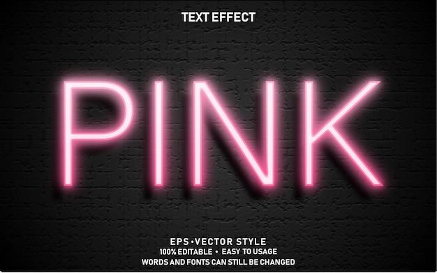 Edytowalny efekt tekstowy pink light premium