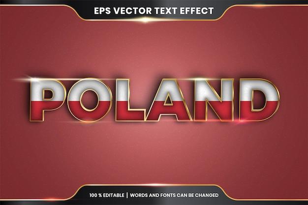 Edytowalny efekt tekstowy - polska z flagą narodową