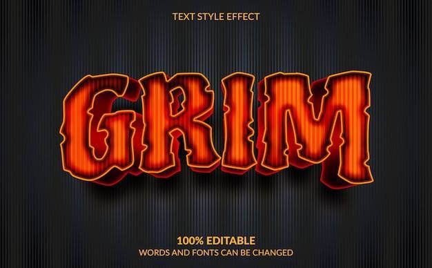 Edytowalny efekt tekstowy, ponury efekt stylu tekstu dla motywu horroru