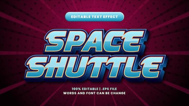 Edytowalny efekt tekstowy promu kosmicznego w nowoczesnym stylu 3d