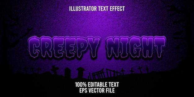 Edytowalny efekt tekstowy przerażająca noc