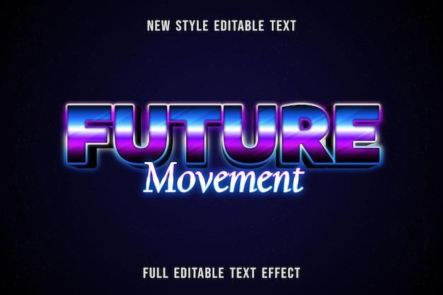Edytowalny efekt tekstowy przyszły kolor ruchu niebieski fioletowy i czarny