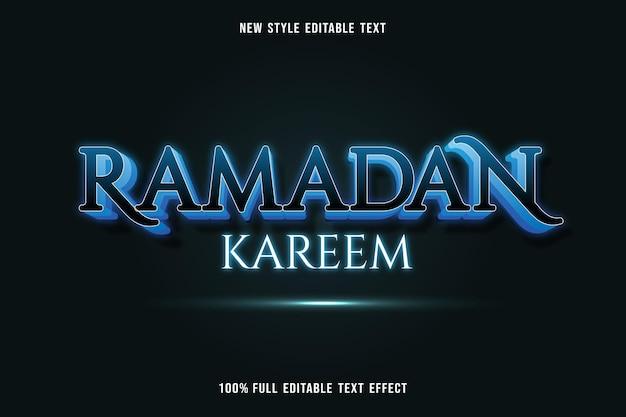 Edytowalny efekt tekstowy ramadan kareem kolor niebieski biały i czarny