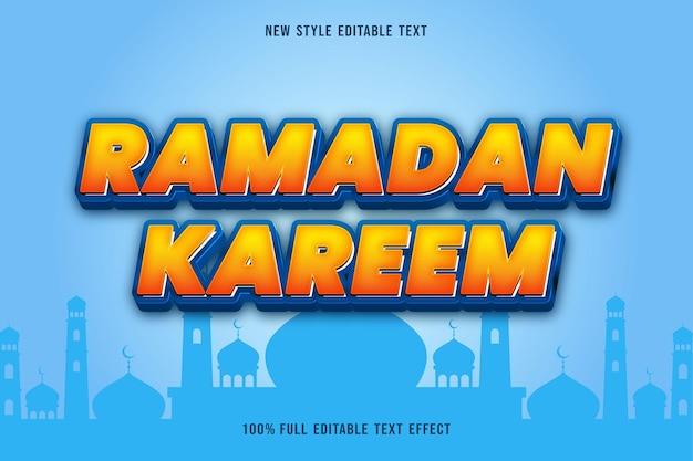 Edytowalny efekt tekstowy ramadan kareem kolor niebieski i pomarańczowy