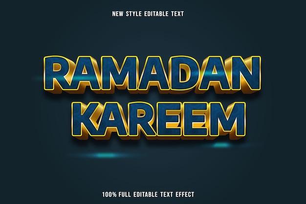 Edytowalny efekt tekstowy ramadan kareem kolor niebieski i żółty