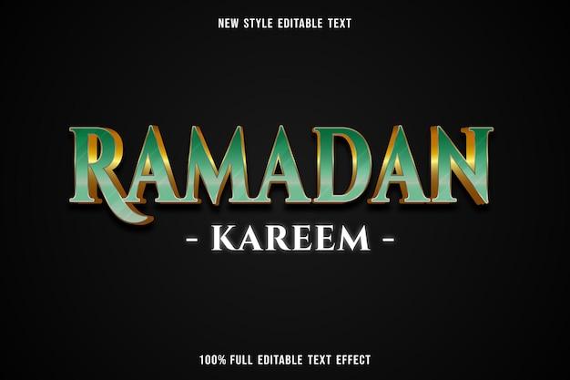 Edytowalny efekt tekstowy ramadan kareem kolor zielony i biały