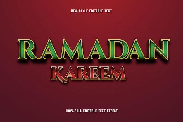 Edytowalny efekt tekstowy ramadan kareem kolor zielony i czerwony złoty