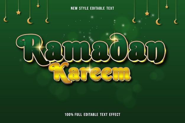 Edytowalny efekt tekstowy ramadan kareem kolor zielony i żółty