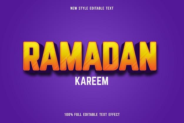 Edytowalny efekt tekstowy ramadan kareem kolor żółty i fioletowy