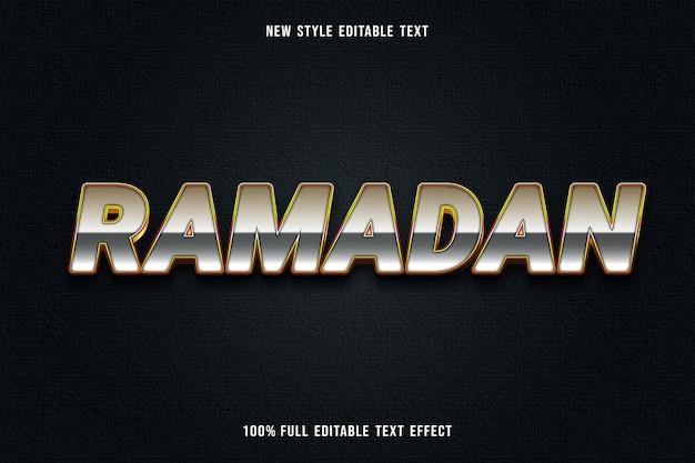 Edytowalny efekt tekstowy ramadan kolor biały szary i pomarańczowy
