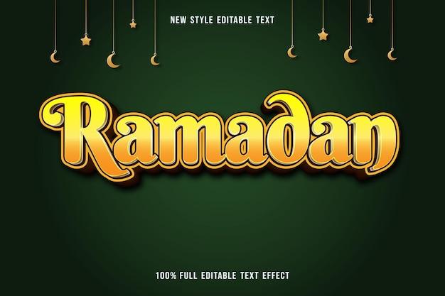 Edytowalny efekt tekstowy ramadan kolor żółty i brązowy