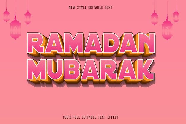 Edytowalny efekt tekstowy ramadan mubarak kolor różowy i żółty