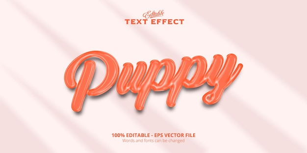 Edytowalny efekt tekstowy, realistyczny i plastyczny tekst puppy w stylu