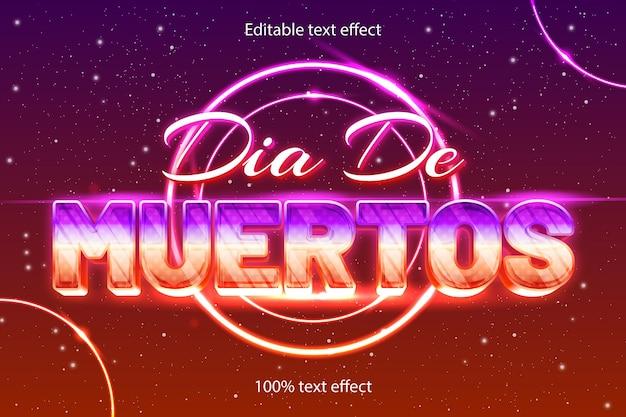 Edytowalny efekt tekstowy retro neon w nowoczesnym stylu