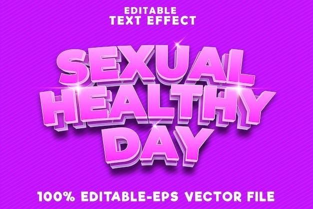 Edytowalny efekt tekstowy seksualny zdrowy dzień w nowoczesnym stylu