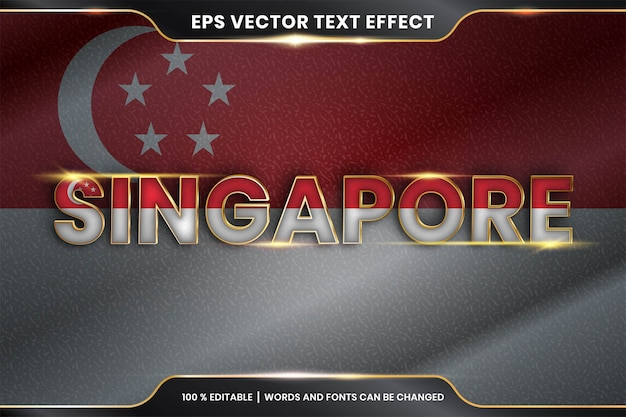 Edytowalny efekt tekstowy - singapur z flagą narodową kraju