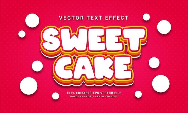 Edytowalny efekt tekstowy słodkiego ciasta z motywem menu słodkich potraw