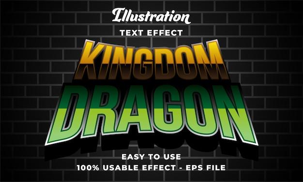 Edytowalny efekt tekstowy smoka królestwa w nowoczesnym stylu
