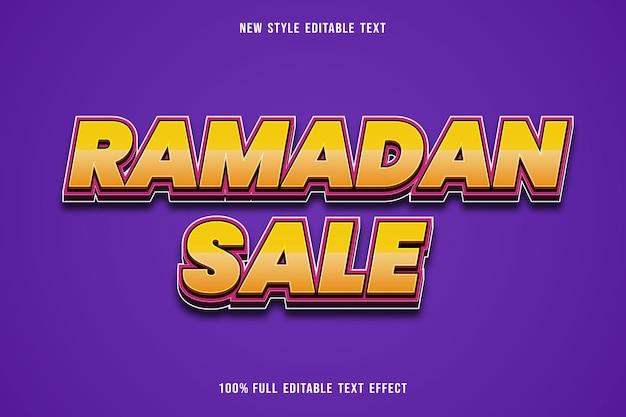 Edytowalny efekt tekstowy sprzedaż ramadan kolor żółty i różowy