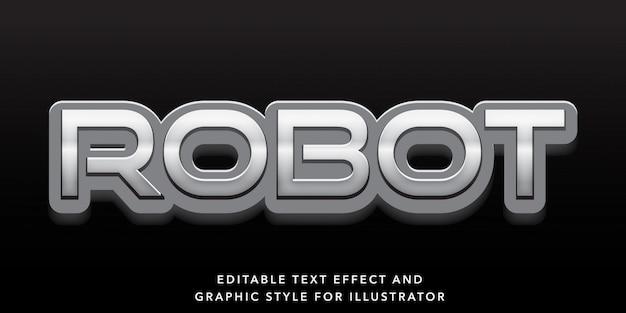 Edytowalny efekt tekstowy srebrny styl robota