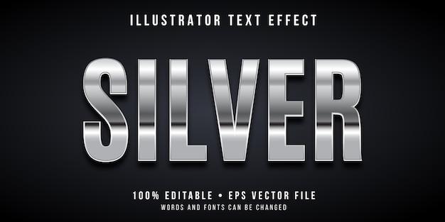 Edytowalny efekt tekstowy - srebrny styl