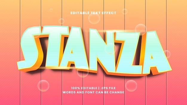 Edytowalny efekt tekstowy stanza w nowoczesnym stylu 3d