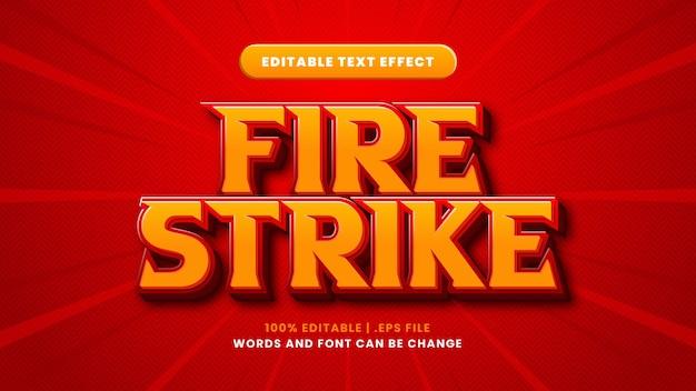 Edytowalny efekt tekstowy strajku ognia w nowoczesnym stylu 3d