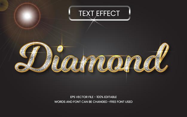 Edytowalny efekt tekstowy styl efektu tekstu diamentowego